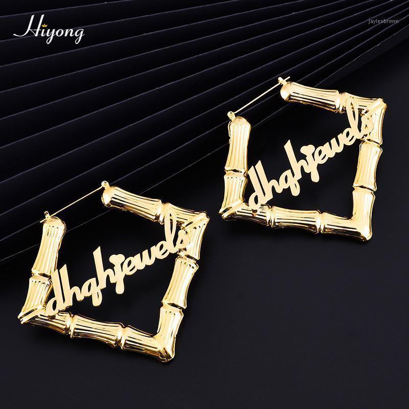 Hiyong 70mm 100mm Forma quadrata Orecchini personalizzati Orecchini Bamboo Orecchini a cerchio in acciaio inox Acciaio inox Hiphop Orecchino di bambù per le donne Gioielli1