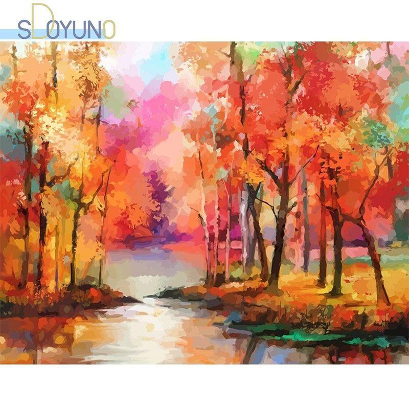 Dipinti Sdoyuno 60x75cm Paint by Numbers Kits Frameless Fai da te Paesaggio Pittura a olio su tela Digital Hand Wall Art Dec