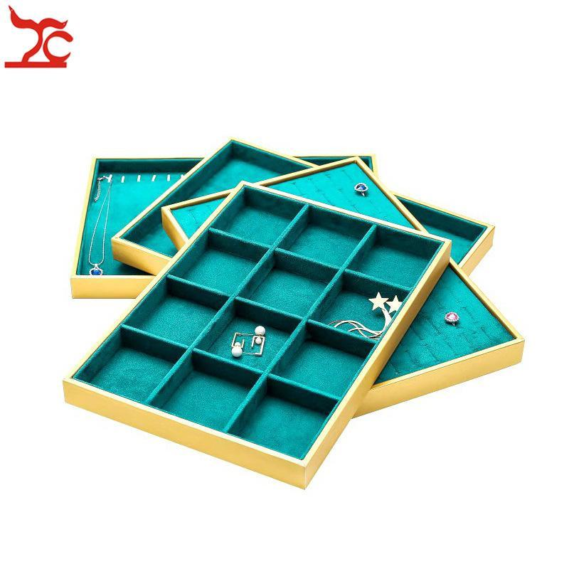 Fashion Jewelry Display Box Gold PU Necklace Pendant Storage Case Soft Green Velvet Ring Earrings Bracelet Jewelry Display Tray