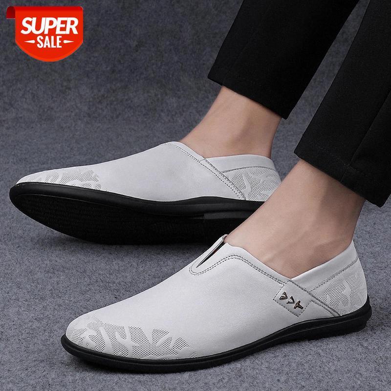 Männer Wohnungen Herren Freizeitschuhe Herren Müßiggänger Echtes Leder Schuh Rutschfeste Gummifahrschuhe Mode Handgemachte Slip auf Schuhe # J26B