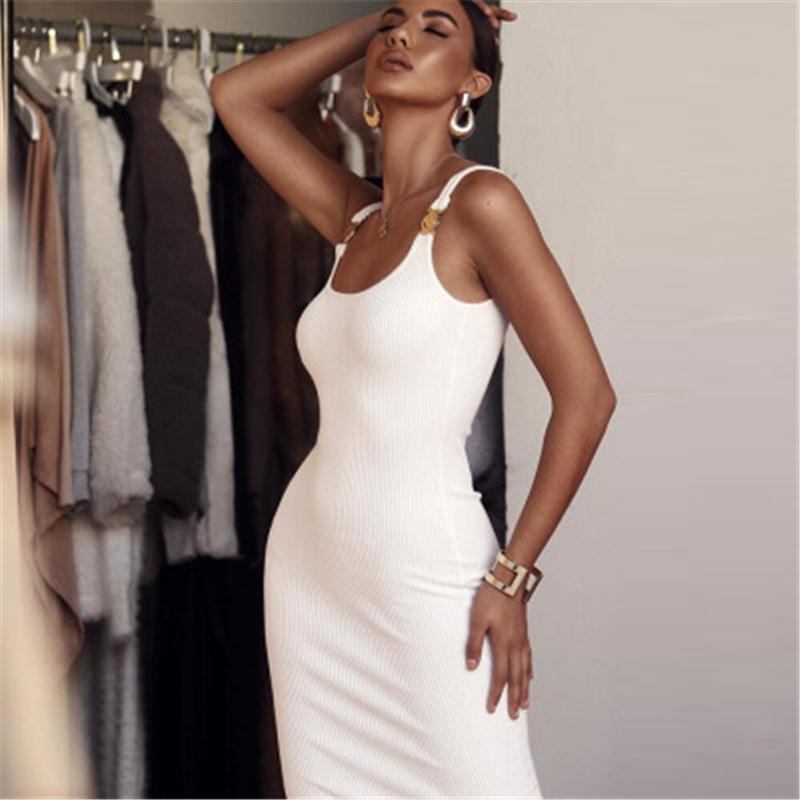 Womens Solid Color Skinny Kleid Mode Trend U Hals Metall Dekorative Gurt Gesäß Schlank Langer Rock Weibliche Frühling Beiläufige sexy Bodycon Kleid