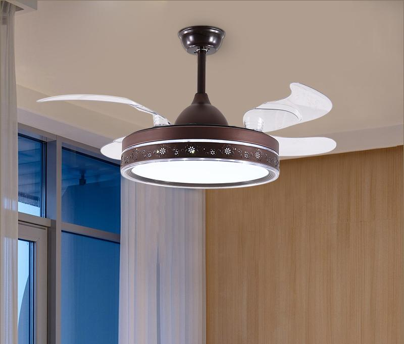 42 pollici all'ingrosso all'ingrosso moderno ventilatore invisibile luci acriliche foglia a LED a soffitto ventilatori da soffitto 220V ventilatore a soffitto a soffitto wireless