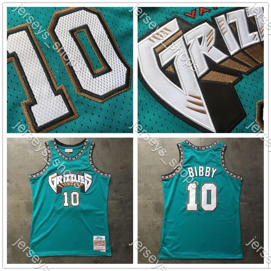 Mens Throwback MemphisGrizzliesMaglie Mike Bibby 10 Green Mitchell Ness cucito HardwoodsClassici Camicie camisetas