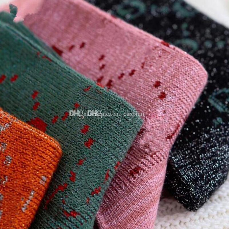 Nuovo arrivo donne lettera calze multicolor stampa stampa calzini traspiranti regalo per amore amico di alta qualità Hosiery