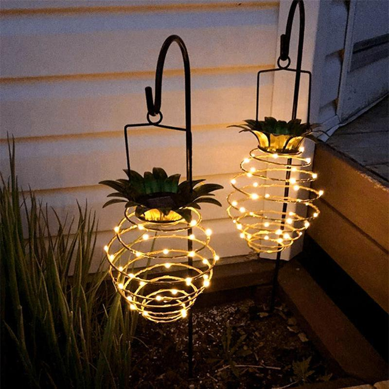 Solar Garden Lights Pineapple Shape Solar Hanging Light Waterproof Wall Lamp Fairy Night Lights Iron Wire Art Home Decorations OWE2465