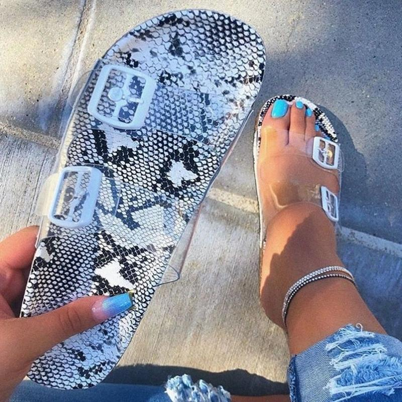 Summer Women Flat Slippers Jelly Slides Transparent Strap Female Open Toe Causal Flops Outdoor Ladies Beach Shoes #EF0E