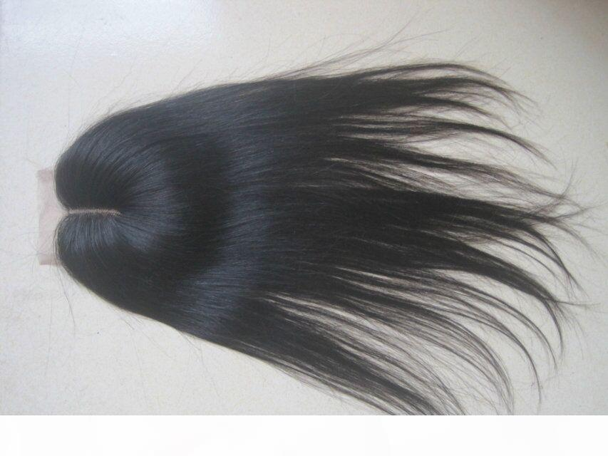 Brezilyalı Düz Dantel Kapatma ağartılmış Knots Ücretsiz Orta 3 Bölüm Kapanış İyi Kalite 4 * 4 Brezilyalı Virgin Saç Dantel Kapanış