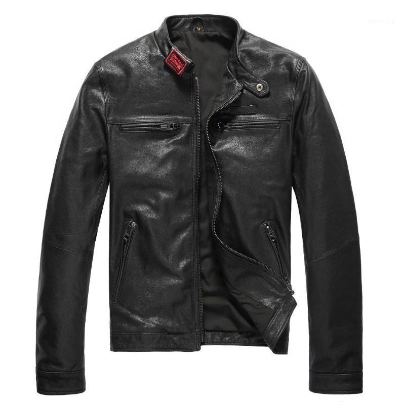 Cuoio da uomo Faux 2021Autumn Ricamo Genuino maschio in pelle di pecora Abbigliamento Moto Giacca Slim Stand Collar 1