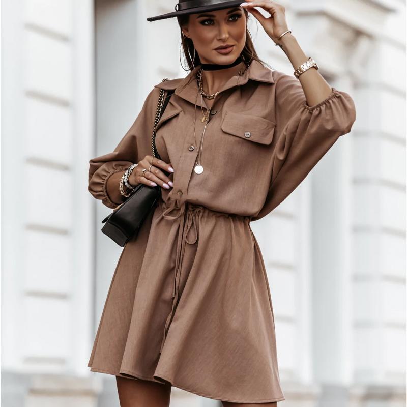 Femmes New Casual Mini Robe élégante solide TURN-Col dowm Batwing en vrac A-ligne Drawstring robe de soirée Vintage Streetwear