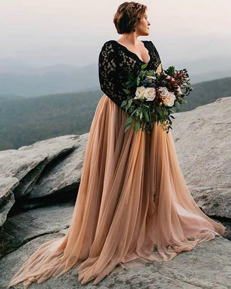 Специальное aso ebi линия свадебное платье 2021 черное кружево с длинными рукавами V-образным вырезом свадебные платья без спинки сексуальные плюс размер Vestidos de Novia