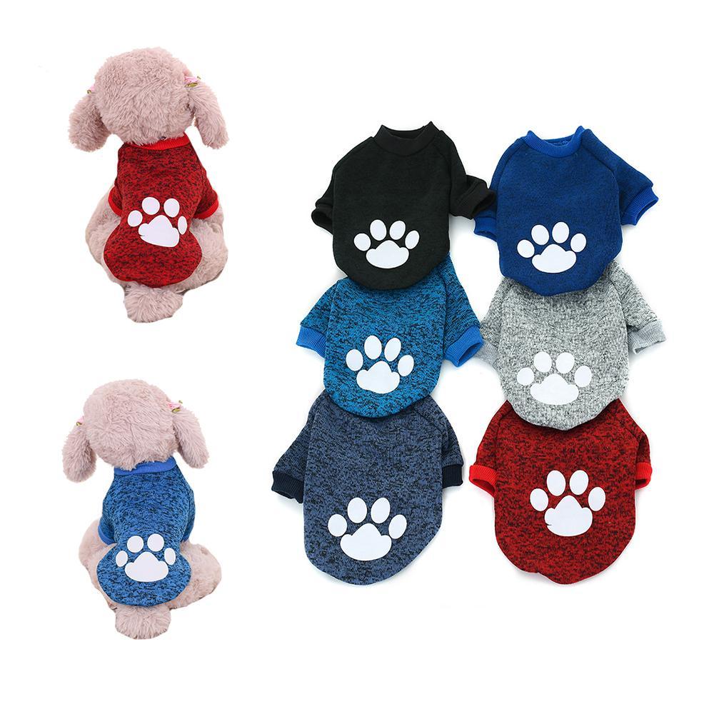 Winter Pet Clothes Dog Paw Pattern Fleece Sweater Teddy Corgi Small Dog Cat Clothes Pet supplies w-00622