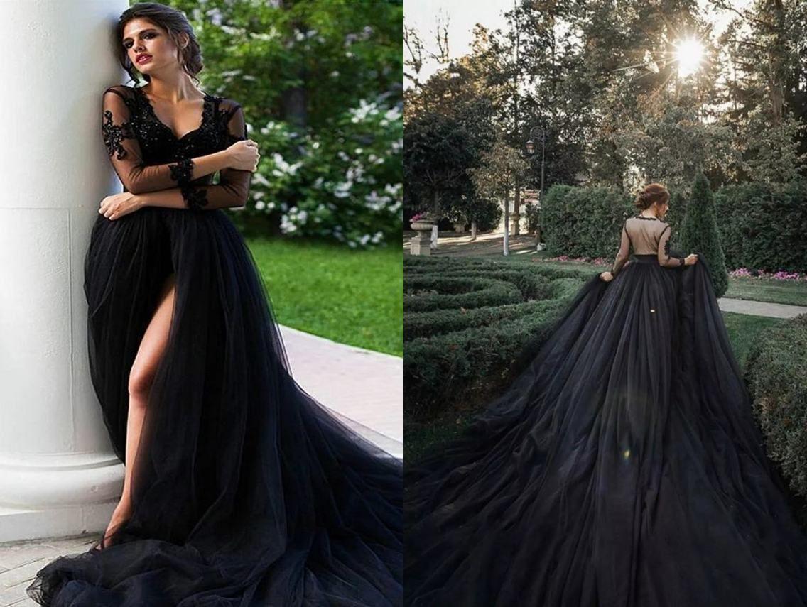 Sexy Black Gothic High Slit Wedding Dresses Country 3/4 Long Sleeves Lace V neck Hollow Back Wedding dress Bridal Gowns Vestidos De Novia