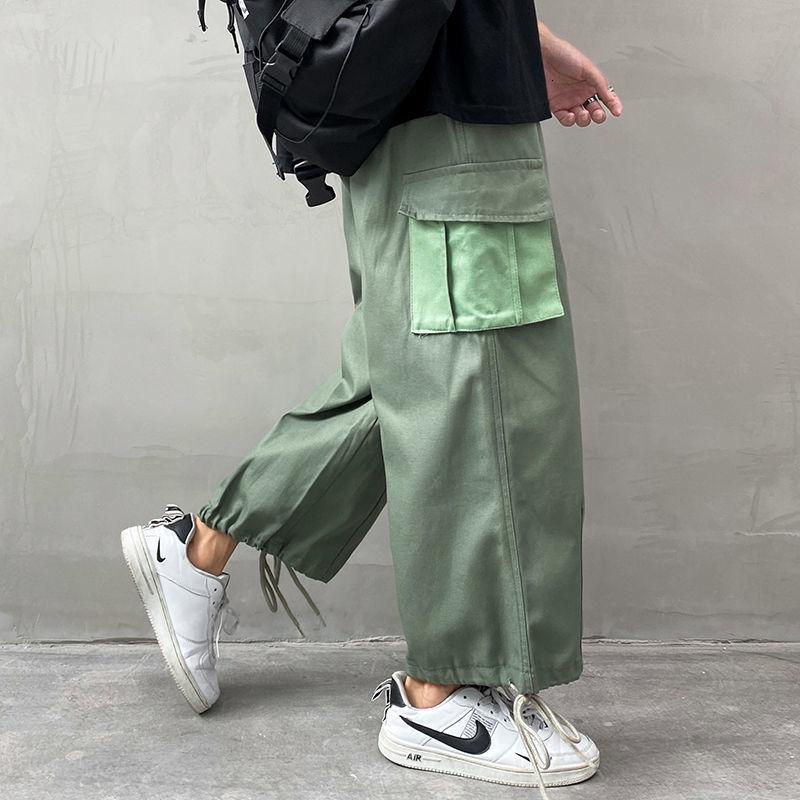 Kargo Pantolon erkek Moda Katı Renk Çok Cep Rahat Pantolon Erkekler Streetwear Gevşek Hip Hop Düz Geniş Bacak Pantolon Erkek M-2XL F1225