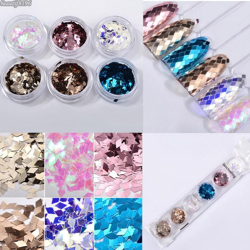 6 colors/set Laser Sparkling Diamond shape Nail Art Glitter Sequins UV Gel Polish Tips 3D DIY Shimmer Nail Decoration