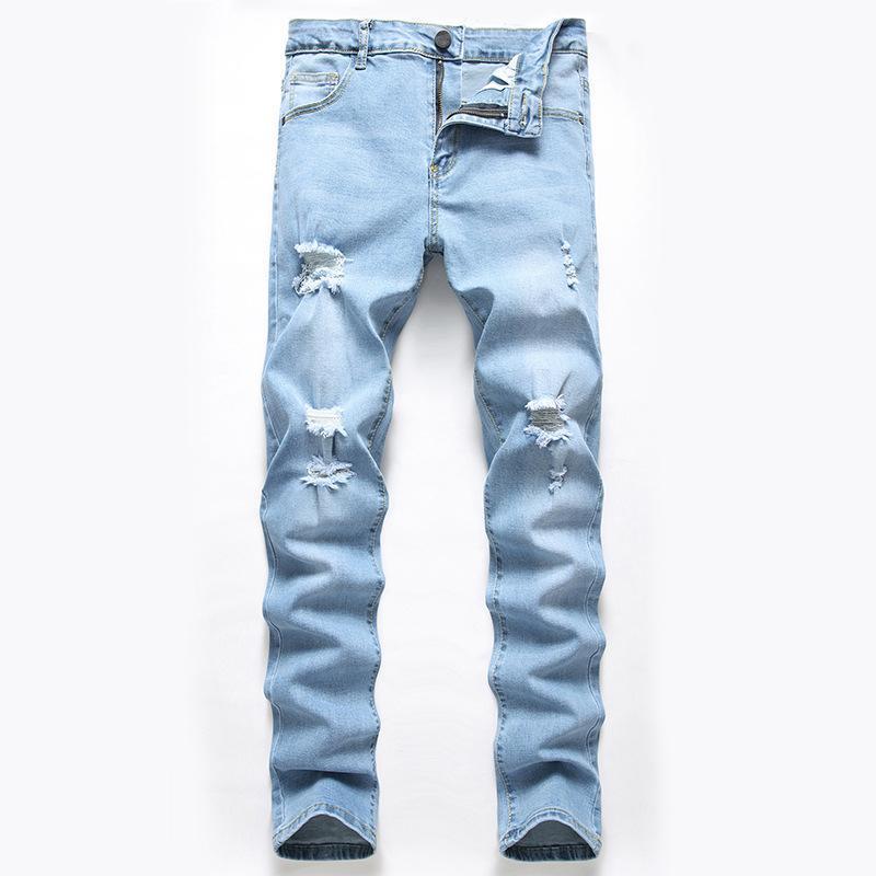 2D transfronteiriça masculina de jeans, jeans rasgados estiramento, Europeu e calças finas cor de luz americanos, jeans homens