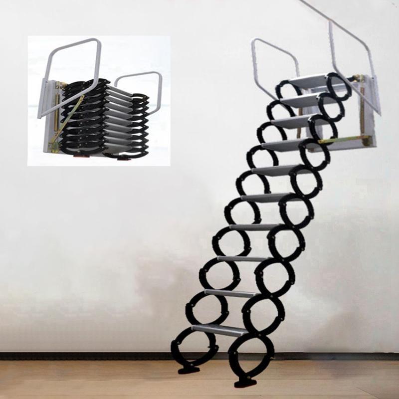 Professionelle Handwerkzeugsets 3,1-3,5m Outdoor Hanging Retracable Treppenhaus Manuelle Wandmontierte Faltleiter Tragbare Treppen Haushaltset