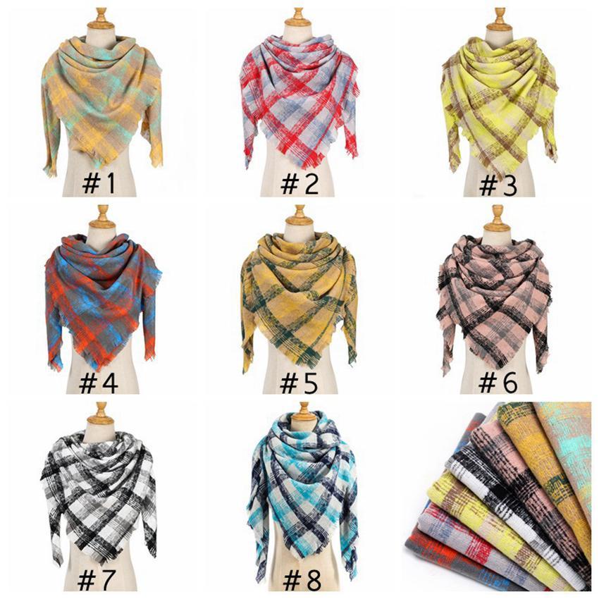 8 Colors Fashion Women Plaid Scarves Grid Tassel Shawl Winter Neckerchief Lattice Triangle Blanket Scarf CYZ2850