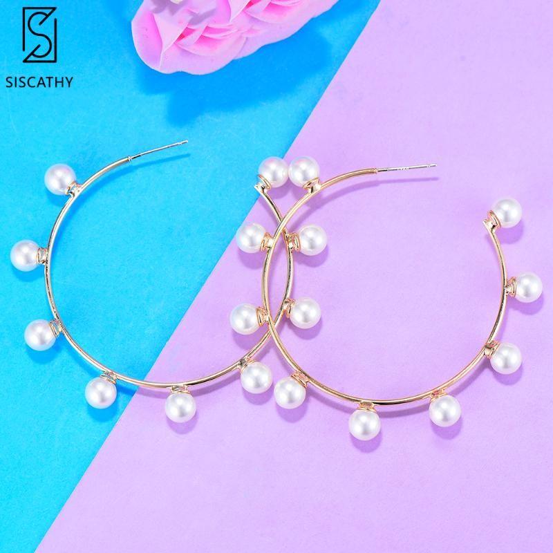 Pearl Neue Mode Handgemachte Schmuck Frauen Elegante 2021 Frauen Ohrringe Aussage Hoop edel Für Symbol Schmuck Gold Ohrringe Toaao