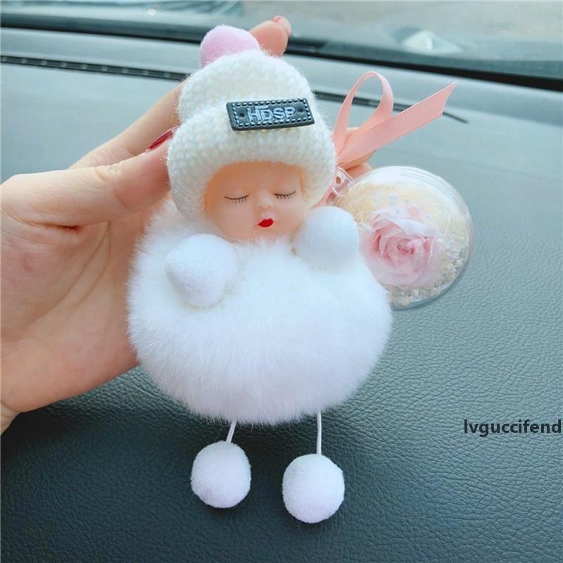 Sleeping Baby Doll portachiavi con Rosa Fiore Pompon sfera Portachiavi Borsa pendente Hanging San Valentino s regalo HHA1167