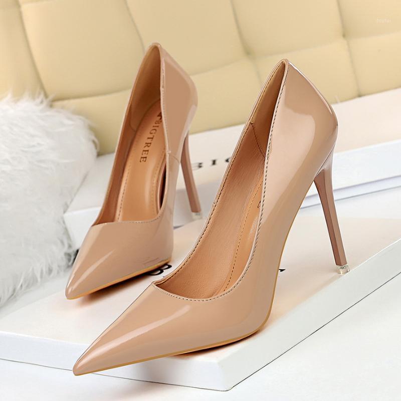 Dress Shoes BIGTREE High Heels 10.5cm Black Pumps Silver Wedding Nude Bridal Estiletos Mujer 2021 Women1