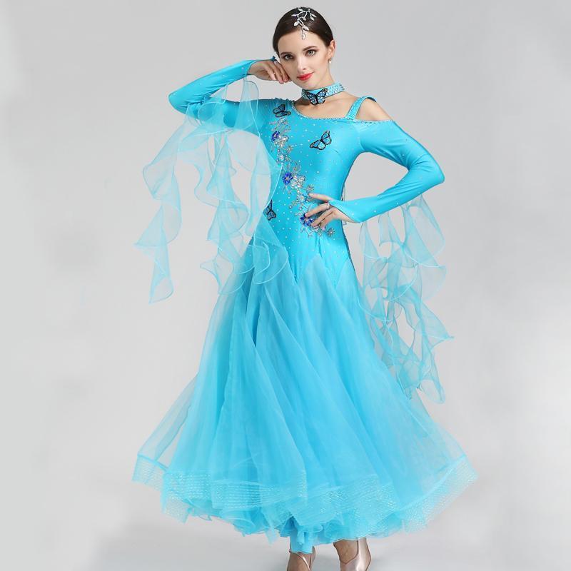 Le donne Ballroom Dance Competition Abiti farfalla ricamo di ballo dello standard Valzer Tango Foxtrot Prestazioni Abbigliamento DC4405