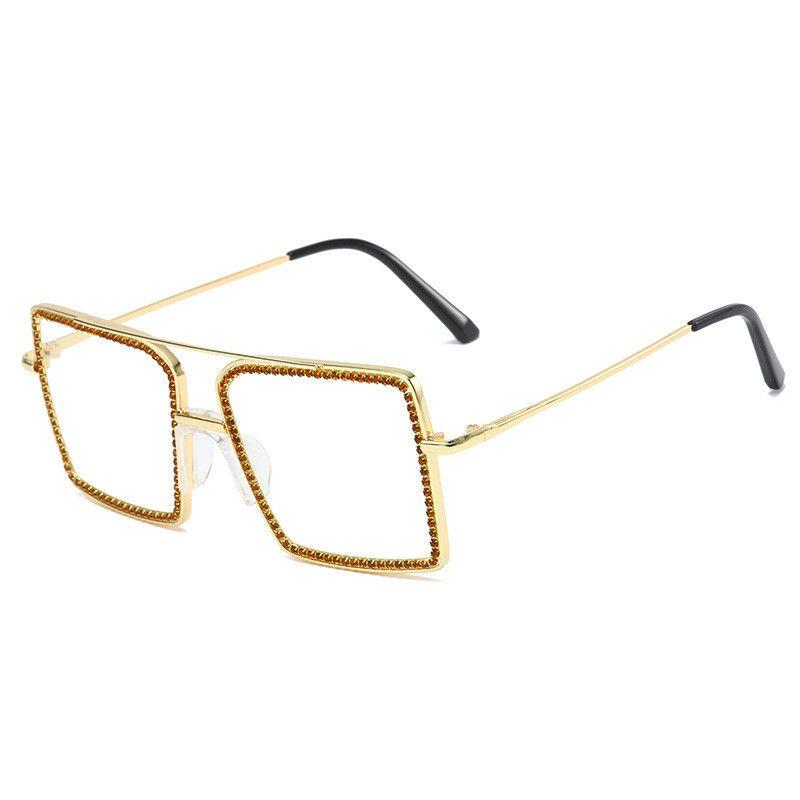 2020 surdimensionnée place Steampunk femmes diamant Punk lunettes main strass Lunettes de soleil Homme Femme
