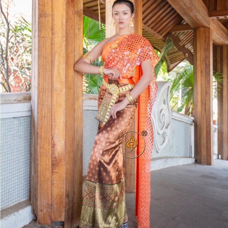 Тайский костюм свадебное платье взаимодействие одно плечо без рукавов шаль красный фиолетовый Таиланд традиционная одежда для женщин