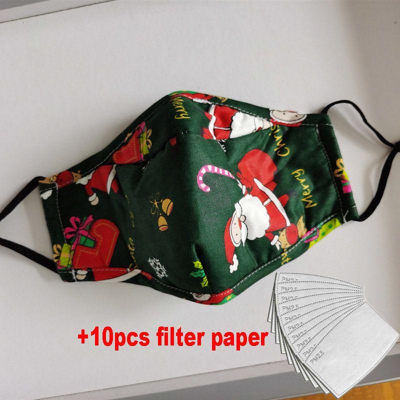 Factoryesxnfashion Cerf imprimé Visage de Noël anti-poussière Snow Flocon Noël Couvre-bouche lavable réutilisable avec masques filtres MG76