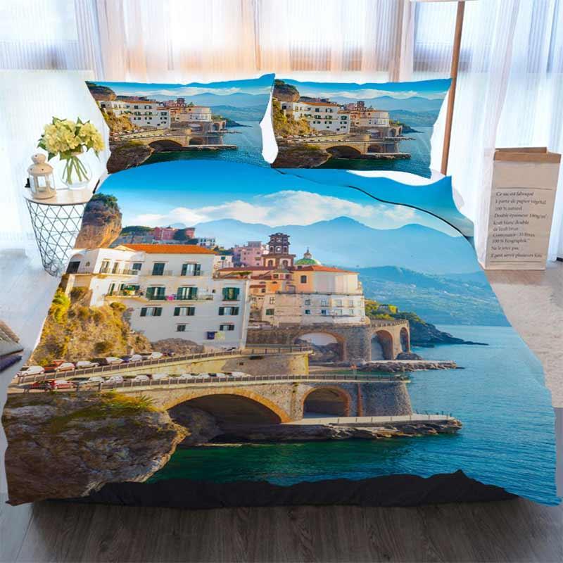 Ropa de cama 3 piezas funda nórdica Establece Amalfi Italia Casa de lujo suave edredón Tapa de Consolador