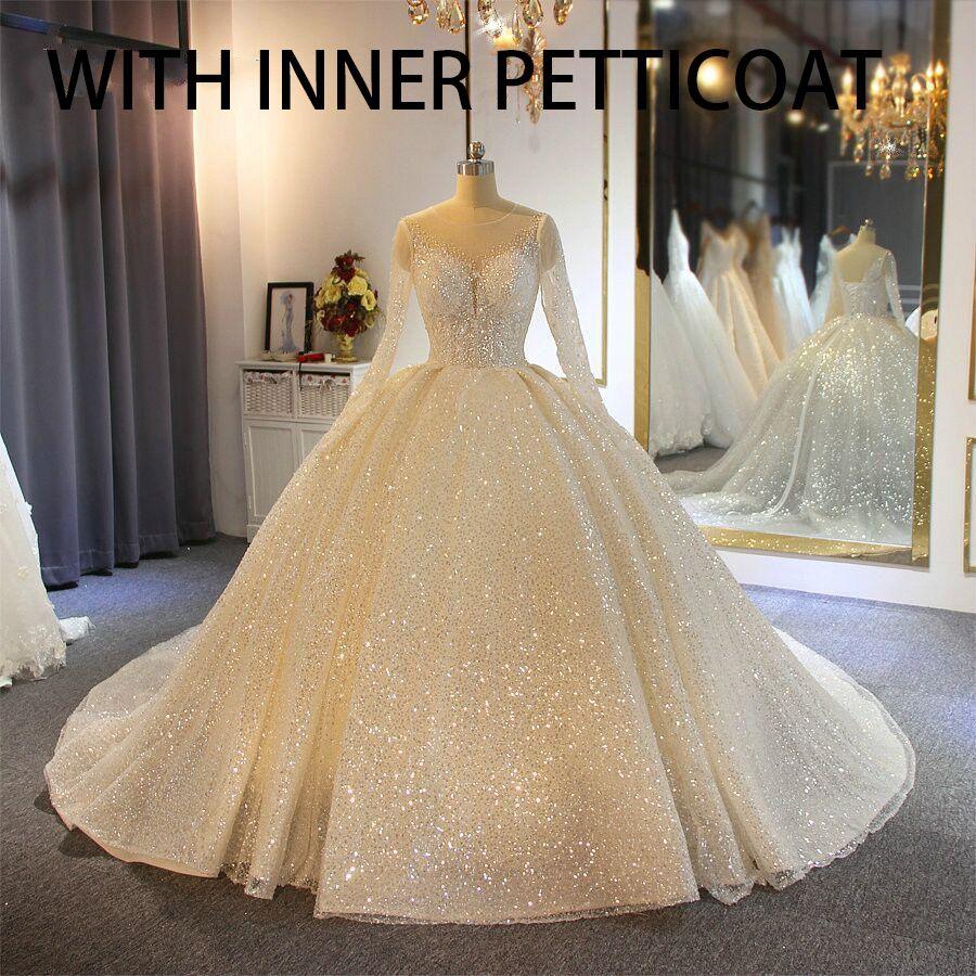 Com Inner Petticoat espumantes Bola Vestidos Vestido de casamento Sheer Jewel Neck Appliqued lantejoulas mangas compridas rendas vestidos de noiva Abiti Da Sposa