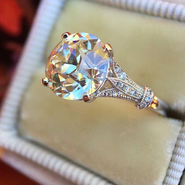 18 K Beyaz Altın 3CT Yuvarlak Moissanit Solitaire Nişan Yüzüğü Gelin Düğün Takı Hediyeler Boyutu 6 7 8 9 10