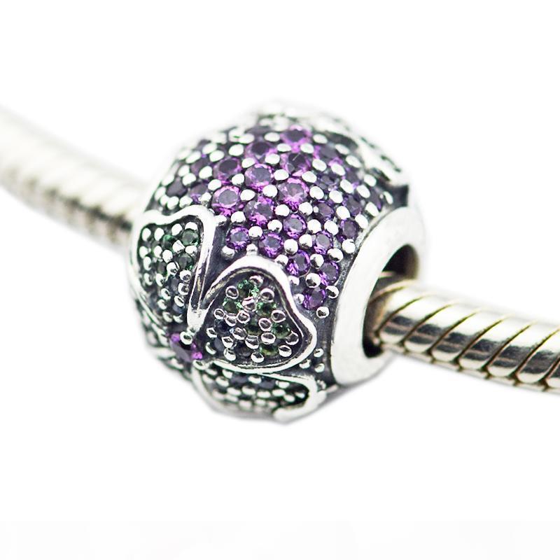 Glorious Bloom multi-colorati CZ perline d'argento per la donna fai da te monili che fanno i fascini d'argento Montare originali 925 fascini d'argento della collana del braccialetto