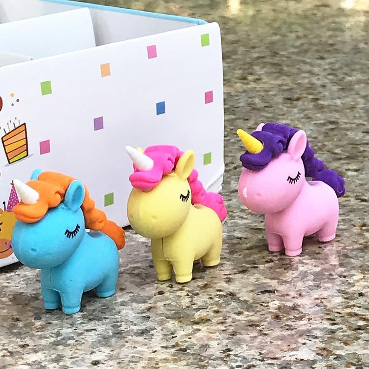 Carino Unicorno eraser di gomma del fumetto degli animali Eraser di matita creativa Student cancelleria rifornimenti di scuola Papelaria regalo bambini