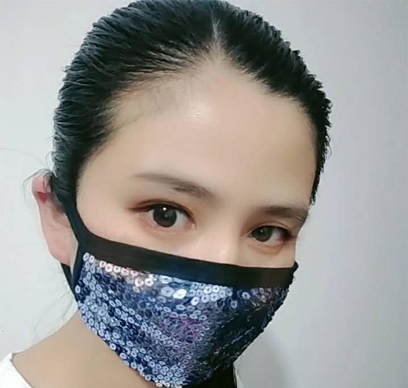 Boca Personalidad Anti-polvo máscara de Trabajo la manera del partido de cara reutilizable antiniebla Máscaras de la lentejuela de Bling Negro Home2005 Oiaxu