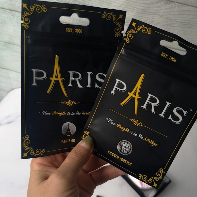 Chegada Nova 3,5 g Paris OG Cheiro Bags Proof Proof Francês cookies Criança Bag Stand Up Pouch seco Herb Flowers frete grátis