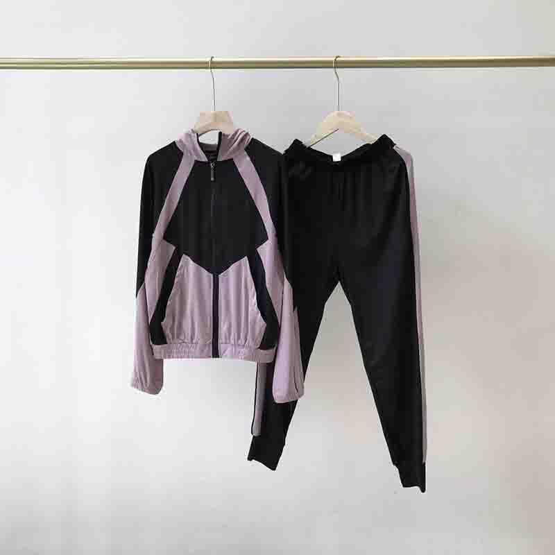 Mujer chándal otoño la moda de Nueva yoga de la mujer fijaron a las mujeres de secado rápido con capucha Traje casual para mujer chándales de diseño en 2 colores Tamaño M-XL