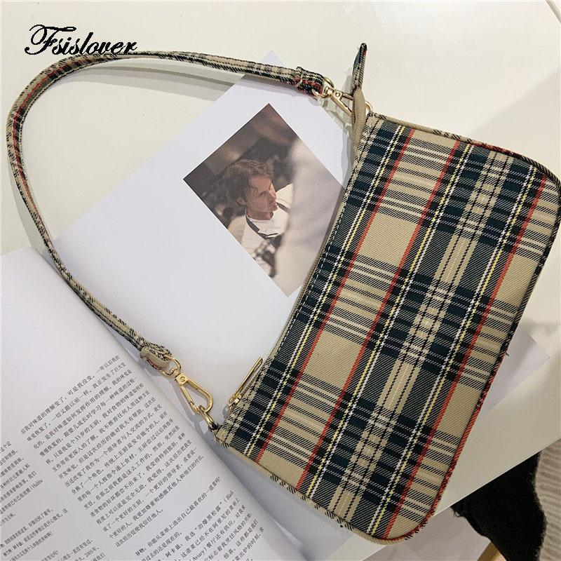 2021 Vintage Plaid Femmes Sac Bolsas Designer de luxe Sacs à main pour femmes Sacs à main en cuir Messenger sac à main rétro baguette sacs de fourre-tout LJ210203