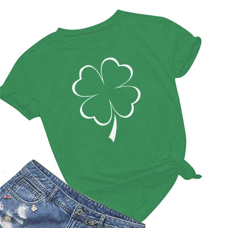 Green Four Leaf Clover Impresión T Shirt Mujer Princesa Tee Personalidad Verano Mujer Arte T-Shirt Streetwear Casual Gran tamaño Camisetas Pxre