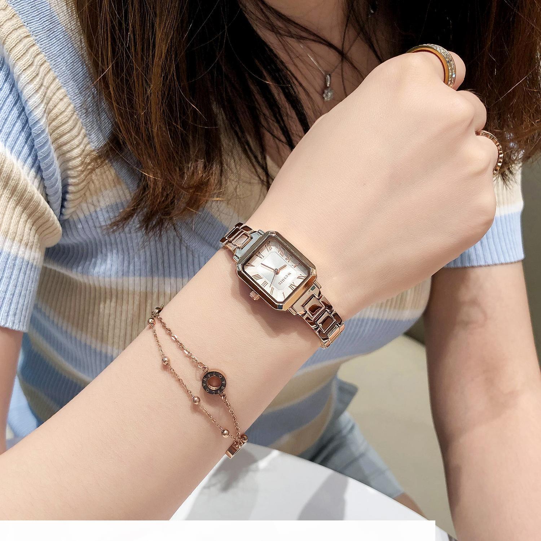 Corea del Sur WES correa de acero de metal reloj reloj pequeño cuadrado simples estudiantes de sexo femenino temperamento de las mujeres reloj de cuarzo resistente al agua