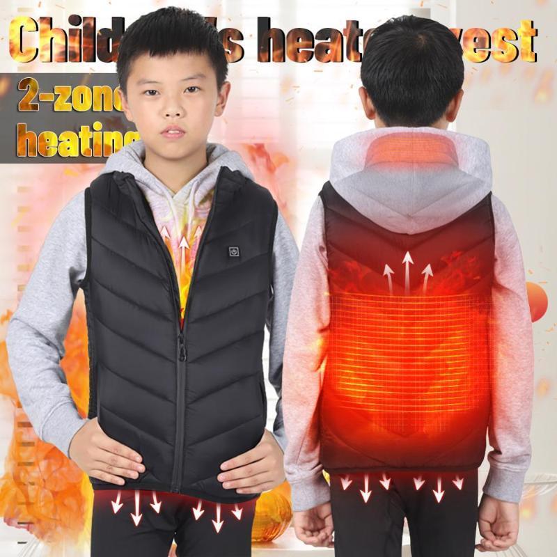 Открытый футболки детский отапливаемый жилет зимняя куртка USB зарядки подростки теплые бегущие носить безопасность интеллигентая