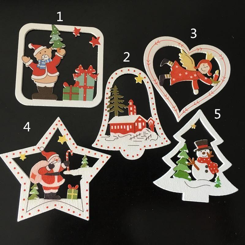 Natural de madera que cuelga del árbol de bricolaje COLORLY en regalos de Navidad Adornos pendiente del árbol de la nieve Copos de botella de la tabla DIY Decoración