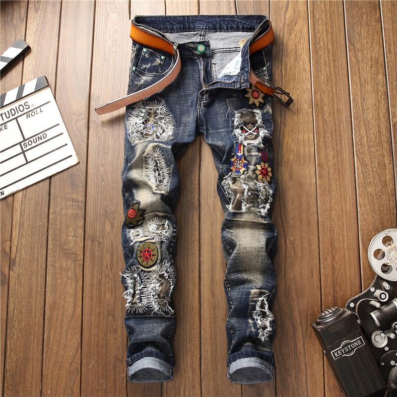 2020 Automne hiver Hommes patchwork déchiré des jeans étirés brodés branché Trendy Denim Touets