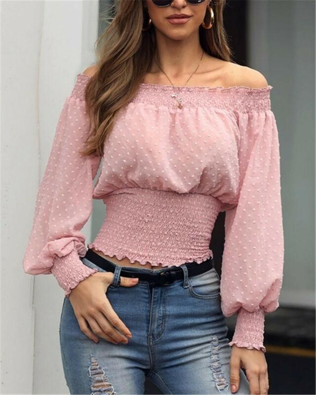 Женские блузки Рубашки Блузка Весна Осень Осень Дамы с плеч Верхов и с длинным рукавом Slim Повседневная одежда Femme