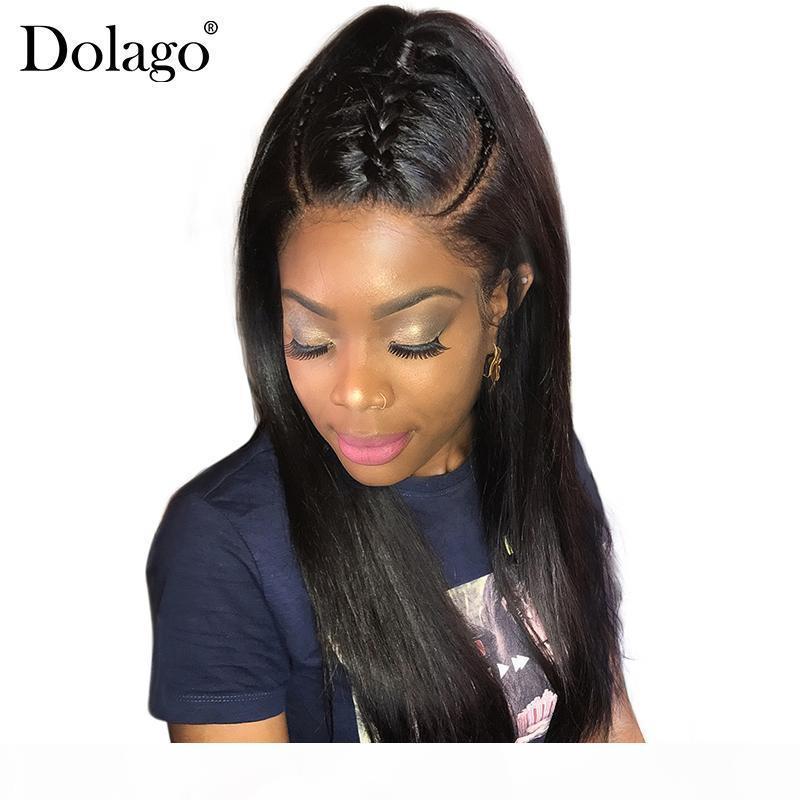 13x6 gerade Spitze-Frontmenschenhaar-Perücken brasilianischen Menschenhaar-Perücken für Frauen 150% Dichte Remy Natural Black Dolago