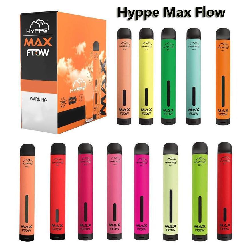 HYPPE 최대 흐름 일회용 전자 담배 2000 퍼프 vape 펜 공기 흐름 조정 가능한 전자 담배 900mAh 6.0ml 포드 장치 19 색