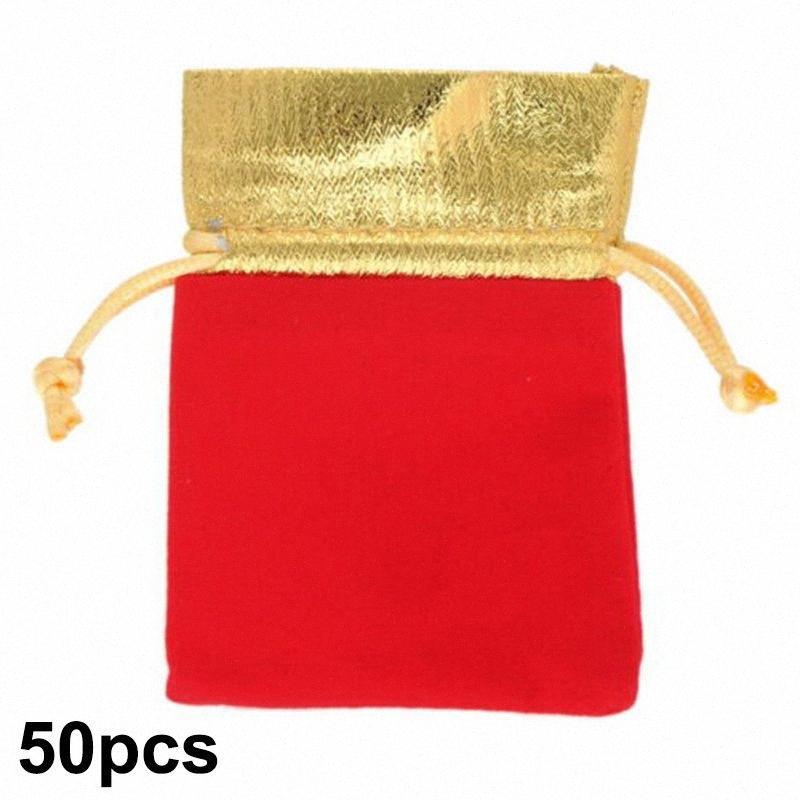 50pcs Golden Trim Drawstring Jewelry Pouches Velvet Gift Bags Wedding Favor