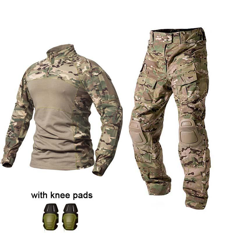 사냥 세트 야외 유니폼 전술 전투 셔츠 미 육군 의류 타티오 탑스 멀티 카 위장 바지 무릎 패드