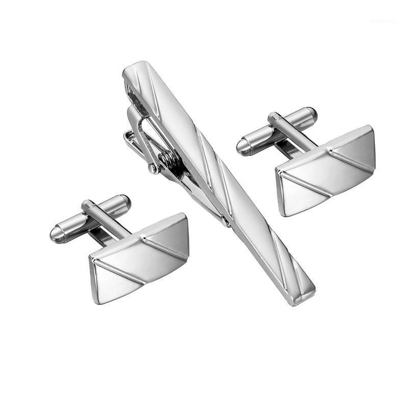 Link del polsino e cravatta clip set semplici gemelli di gemelli a strisce diagonali per uomo Set Pin di alta qualità Links Uomo Gioielli Gifts1
