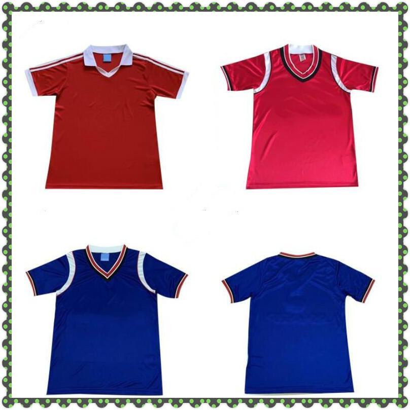 1980 1984 Camisas de futebol retrô 80 84 Vintage Jerseys homem Utd Paul Ince Robson Hughes Camiseta