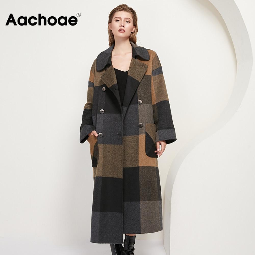 AACHOAE Kadınlar Vintage Ekose Yün Uzun Coat Cepler Ile Kruvaze Moda Palto Kadın Batwing Uzun Kollu Yün Mont 201103